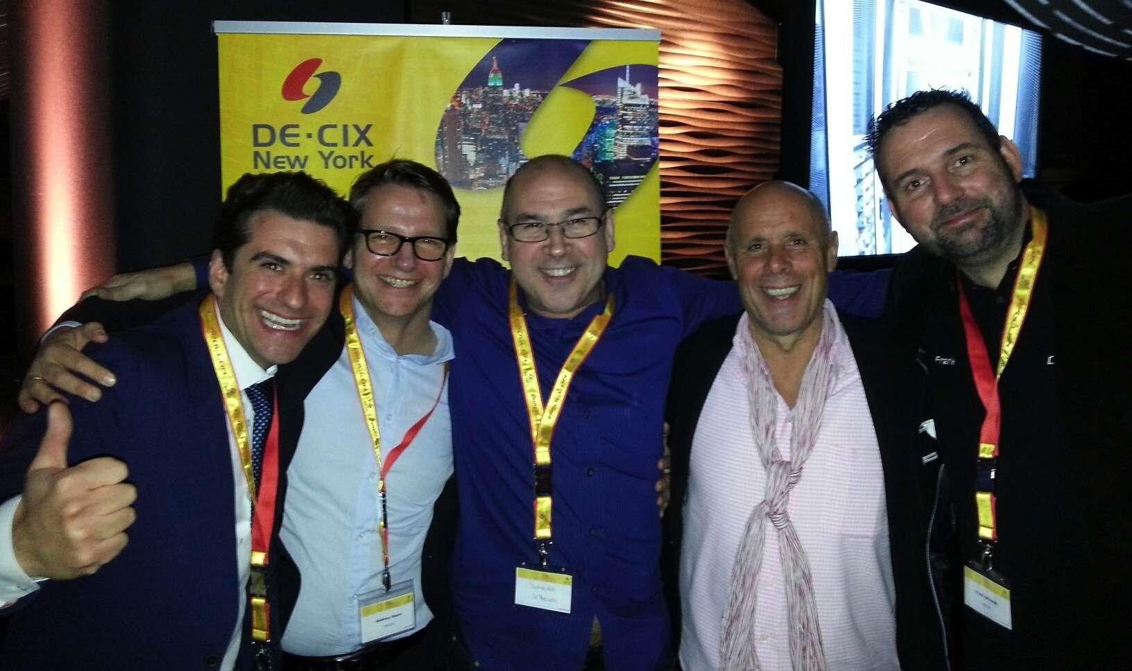 L-R: Ivo Ivanov - DE-CIX, Andreas Sturm - DE-CIX, John Hill - IX Reach, Harald Summa - DE-CIX & Frank Orlowski - DE-CIX.